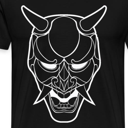 Japanese Demon Mask Line Art - Men's Premium T-Shirt