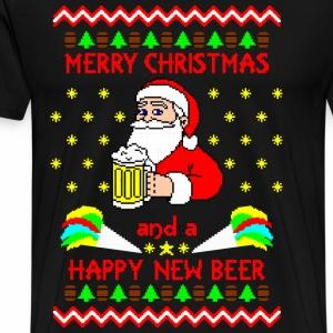 Merry Christmas happy new beer Ugly Christmas - Men's Premium T-Shirt