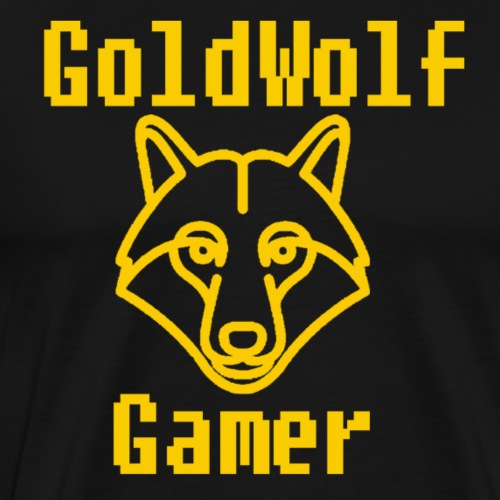 GoldWolf Gamer 8Bit Stacked - Men's Premium T-Shirt