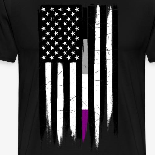 Asexual Thin Line American Flag - Men's Premium T-Shirt