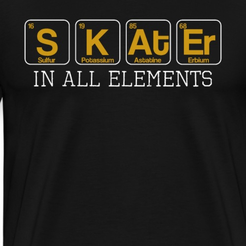 Skater In All Elements Periodic Table Science - Men's Premium T-Shirt