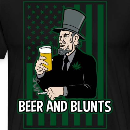 Beer and Blunts Abe Lincoln - Men's Premium T-Shirt