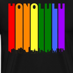 Honolulu Hawaii Skyline Rainbow LGBT Gay Pride - Men's Premium T-Shirt