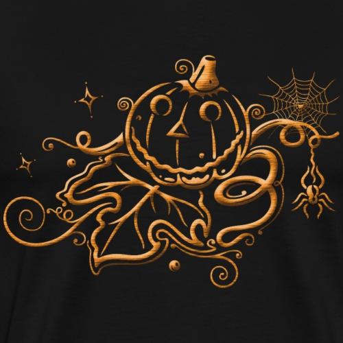 Halloween pumpkin with leaf and stars - Men's Premium T-Shirt
