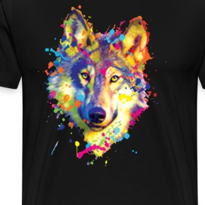 Wolf Neon Bright Colors Animal Lovers - Men's Premium T-Shirt