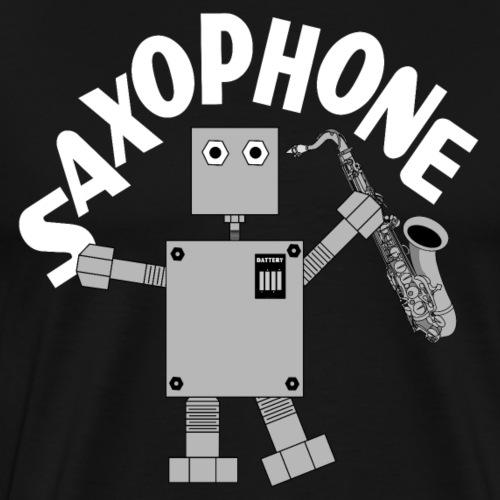 Saxophone Robot White Text - Men's Premium T-Shirt