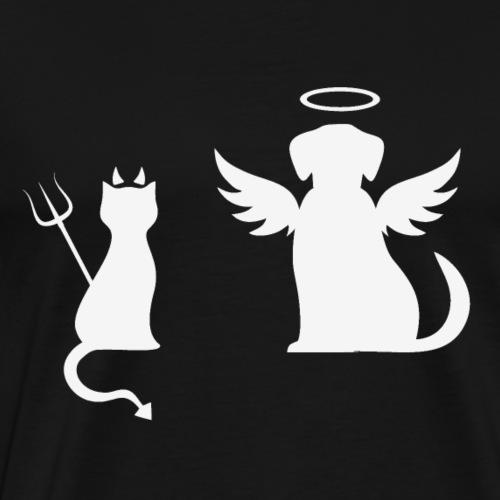 Devilish Cat And Angelic Dog White - Men's Premium T-Shirt