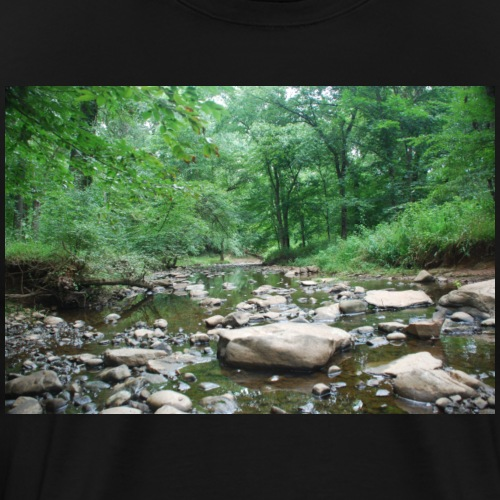 Green Forest River Nature Photo - Men's Premium T-Shirt