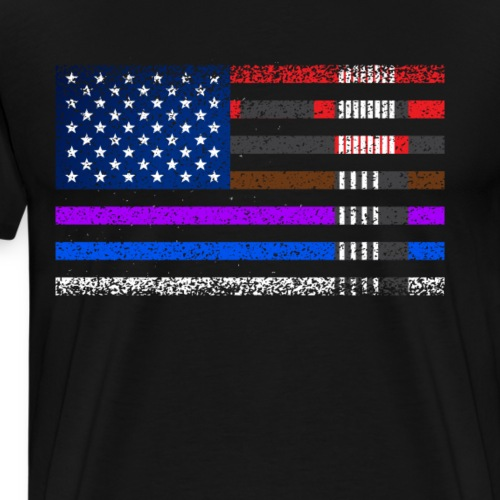 BJJ Brazilian Jiu-jitsu American flag by BJJ belt - Men's Premium T-Shirt