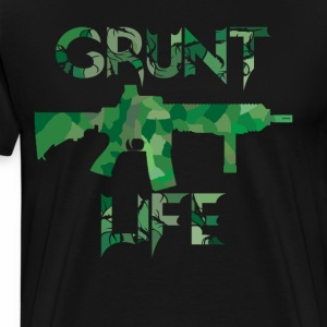 Grunt Life with Forest green Camouflage M16 - Men's Premium T-Shirt
