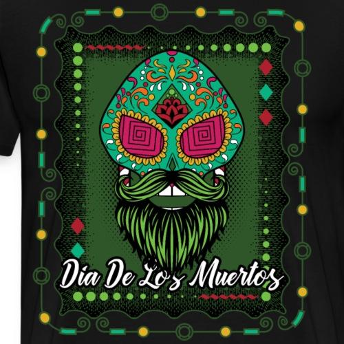 Day of the Dead Green Sugar Skull With Beard - Men's Premium T-Shirt