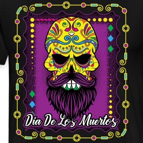 Day Of The Dead Sugar Skull Beard Yellow Purple - Men's Premium T-Shirt