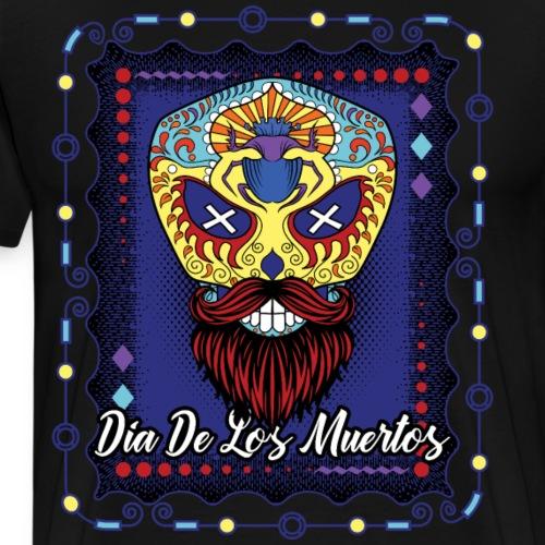 Day Of The Dead Sugar Skull Beard Purple Blue - Men's Premium T-Shirt