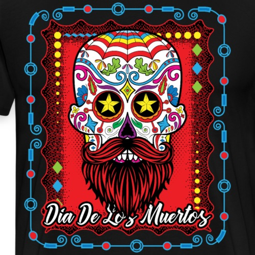 Day of the Dead Sugar Skull With Beard Red - Men's Premium T-Shirt