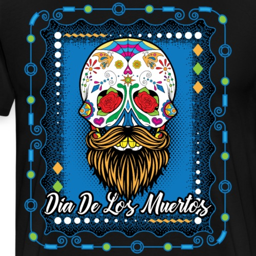 Dia De Los Muertos Day Of The Dead Bearded Skull - Men's Premium T-Shirt
