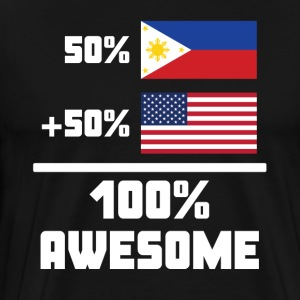 50% Filipino 50% American 100% Awesome Funny Flag - Men's Premium T-Shirt