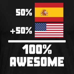 50% Spanish 50% American 100% Awesome Funny Flag - Men's Premium T-Shirt