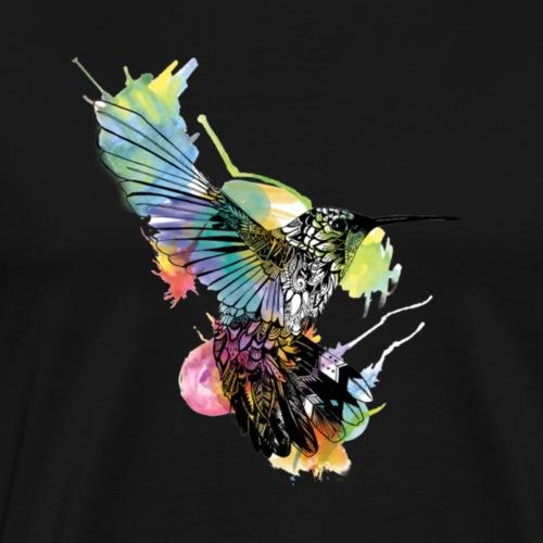 Happiness, coloful bird, watercolor splash - Men's Premium T-Shirt