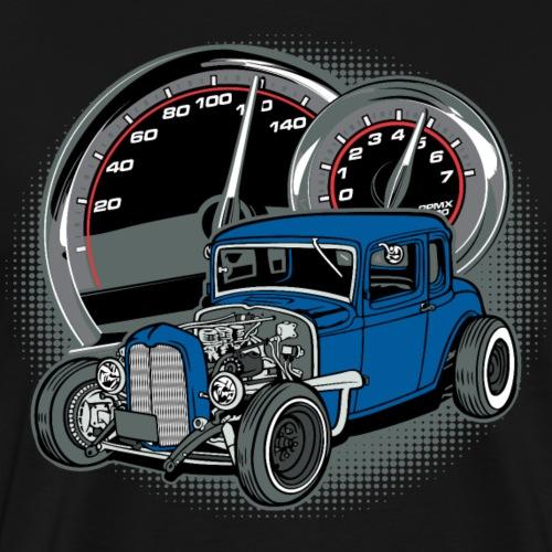 Blue Rat Rod Classic Car - Men's Premium T-Shirt