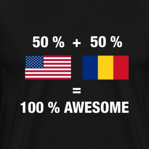 Half Romanian Half American 100% Awesome Flag Roma - Men's Premium T-Shirt