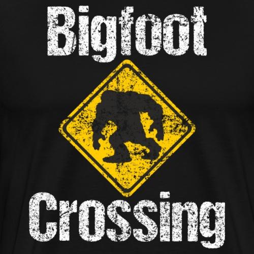 Bigfoot Crossing Sign Sasquatch Distressed - Men's Premium T-Shirt