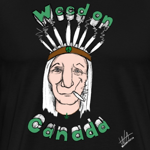 Weed on Canada, Original Art by WeedArtist - Men's Premium T-Shirt