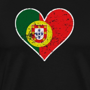 Distressed Portuguese Flag Heart - Men's Premium T-Shirt