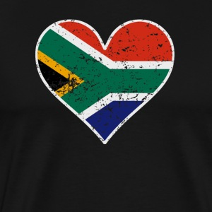 Distressed South African Flag Heart - Men's Premium T-Shirt