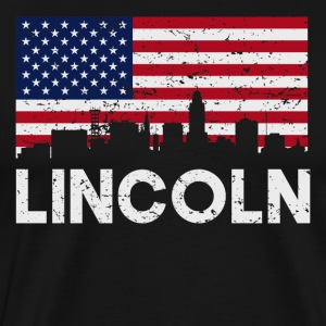 Lincoln NE American Flag Skyline Distressed - Men's Premium T-Shirt