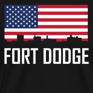 Fort Dodge Iowa Skyline American Flag - Men's Premium T-Shirt