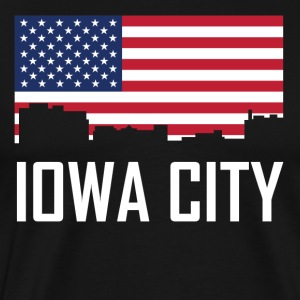 Iowa City Iowa Skyline American Flag - Men's Premium T-Shirt