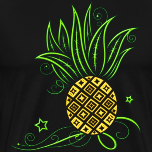 Neon pineapple. Summer, party, beach design. - Men's Premium T-Shirt