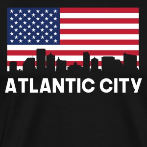 Atlantic City NJ American Flag Skyline - Men's Premium T-Shirt