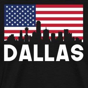 Dallas TX American Flag Skyline - Men's Premium T-Shirt