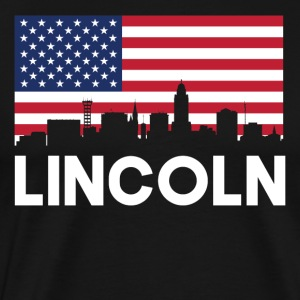 Lincoln NE American Flag Skyline - Men's Premium T-Shirt