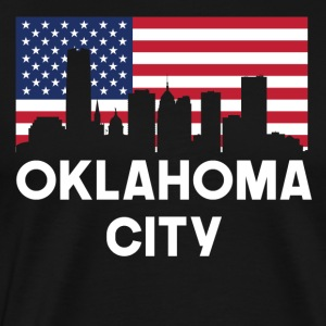 Oklahoma City OK American Flag Skyline - Men's Premium T-Shirt