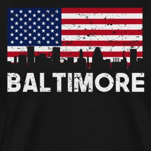 Baltimore MD American Flag Skyline Distressed - Men's Premium T-Shirt