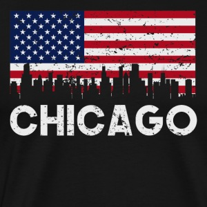 Chicago IL American Flag Skyline Distressed - Men's Premium T-Shirt