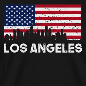 Los Angeles CA American Flag Skyline Distressed - Men's Premium T-Shirt