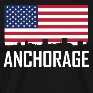Anchorage Alaska Skyline American Flag - Men's Premium T-Shirt