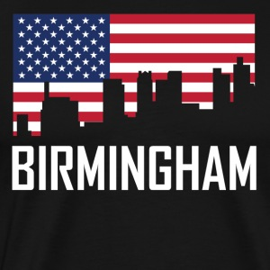 Birmingham Alabama Skyline American Flag - Men's Premium T-Shirt