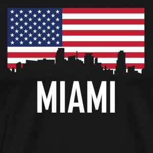 Miami Florida Skyline American Flag - Men's Premium T-Shirt