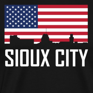 Sioux City Iowa Skyline American Flag - Men's Premium T-Shirt
