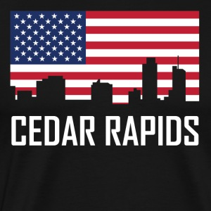 Cedar Rapids Iowa Skyline American Flag - Men's Premium T-Shirt