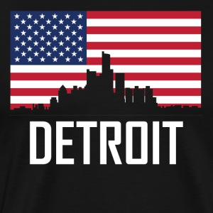 Detroit Michigan Skyline American Flag - Men's Premium T-Shirt
