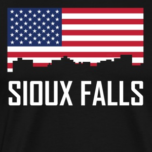 Sioux Falls South Dakota Skyline American Flag - Men's Premium T-Shirt