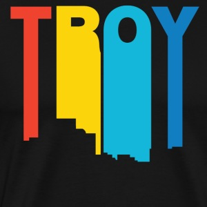 Retro 1970's Style Troy Michigan Skyline - Men's Premium T-Shirt