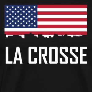 La Crosse Wisconsin Skyline American Flag - Men's Premium T-Shirt
