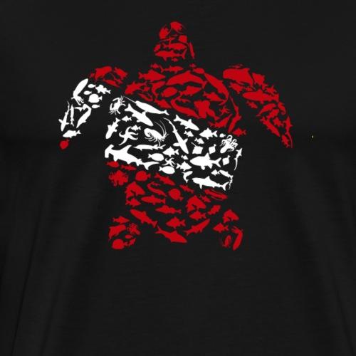 Sea Turtle flag Diver - Men's Premium T-Shirt