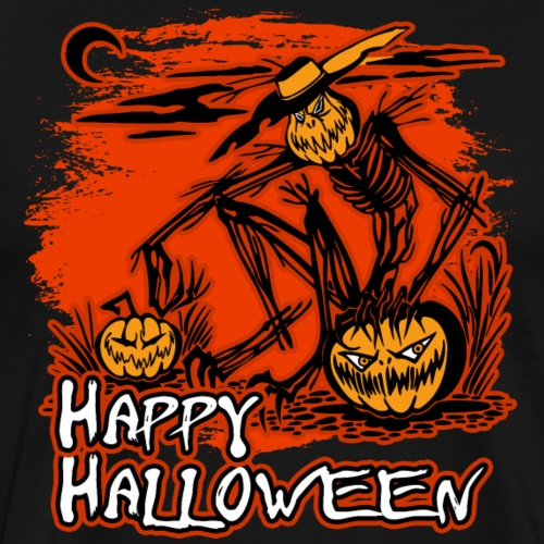Happy Halloween Scarecrow And Pumpkins - Men's Premium T-Shirt